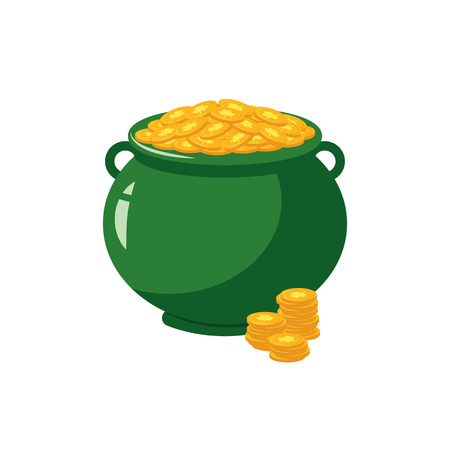 Green pot full of golden coins with clover sign - traditional symbol of St Patrick Day in flat style. Isolated vector illustration of cauldron with gold for 17 March holiday design.