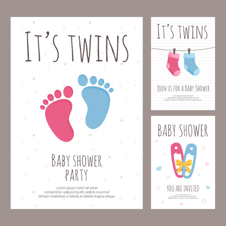 Baby shower invitation vector illustration set in flat style - vertical banners for celebration of twins birth with pink and blue toddler elements with text on white textured background.