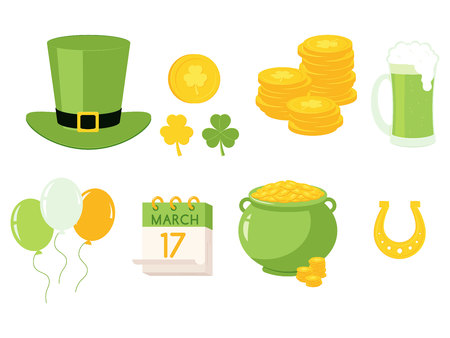 Vector illustration of St Patrick Day traditional symbols of green leprechaun hat and pot with golden coins, shamrock leaf and horseshoe for luck and other elements in flat style.