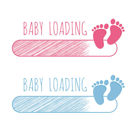 Baby loading concept with progress bar and pink and blue footsteps vector illustration set. 矢量图像