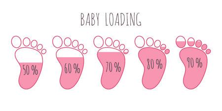 Baby loading concept with various percents full pink footsteps vector illustration set.