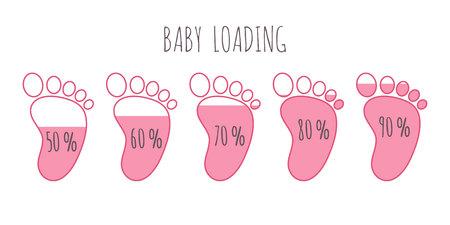 Concept de chargement de bébé avec divers pourcentages d'illustrations vectorielles de pas roses complets.
