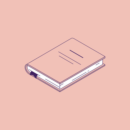 Isometric vector illustration of lying paper book or diary with hardcover isolated on pink background for education, science or business learning concept. Иллюстрация