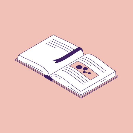 Open book with bookmark isometric vector illustration. Isolated paper encyclopedia or dictionary for education or school learning concept.