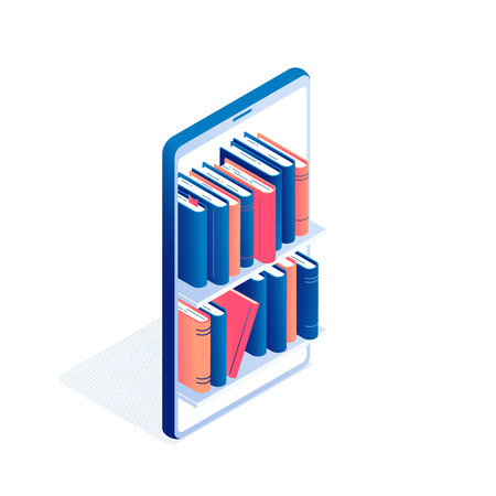 Online education or electronic book reading isometric concept - big mobile phone with shelves full of standing paper literature or diary with hardcover and bookmarks in isolated vector illustration. Çizim