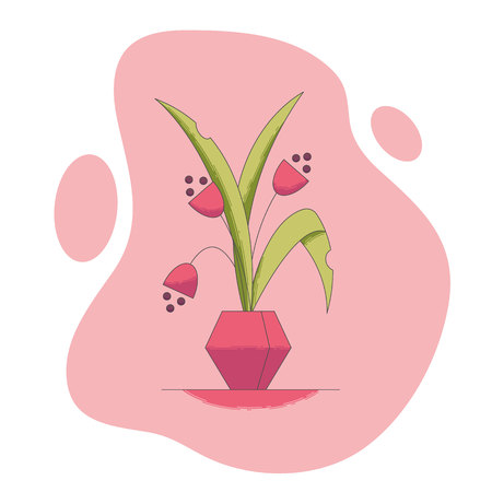 Blooming house plant in flowerpot vector illustration in flat style - indoor decorative flower with leaves and blossoms in pot isolated on white background. Fantasy interior greenery.