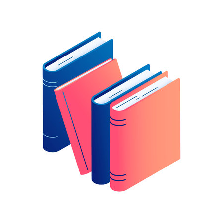 Isometric standing books - isolated vector illustration of stack of literature, dictionary or encyclopedia with paper pages hardcover for education and school learning concept. Zdjęcie Seryjne - 122489291