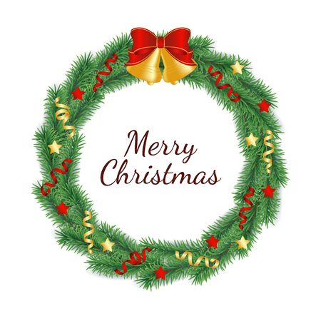 Christmas wreath made from branches of green tree in form of circle decorated with bells with bow, ribbons and stars - isolated vector illustration of Xmas and New Year traditional decoration. 일러스트