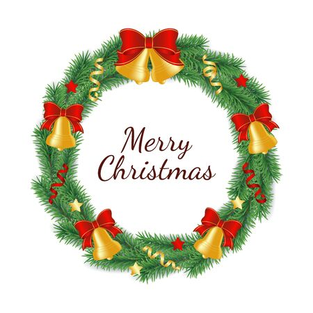 Bożonarodzeniowy wieniec wykonany z gałęzi zielonego drzewa w kształcie koła ozdobiony dzwoneczkami z kokardą, wstążkami i gwiazdkami. Ilustracja na białym tle wektor tradycyjnych dekoracji Boże Narodzenie i nowy rok.