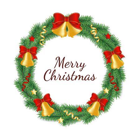 Weihnachtskranz aus Zweigen des grünen Baumes in Form eines Kreises, der mit Glocken mit Schleife, Bändern und Sternen verziert ist. Isolierte Vektor-Illustration von Weihnachten und Neujahr traditionelle Dekoration.
