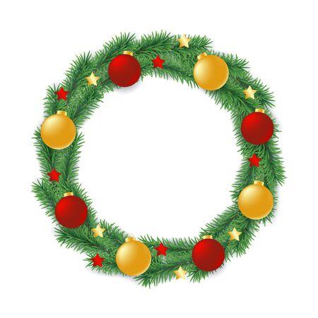 Bożonarodzeniowy wieniec wykonany z gałęzi wiecznie zielonego drzewa w formie koła ozdobionego kulkami i gwiazdami na białym tle, ilustracji wektorowych tradycyjnych dekoracji świątecznych i noworocznych.