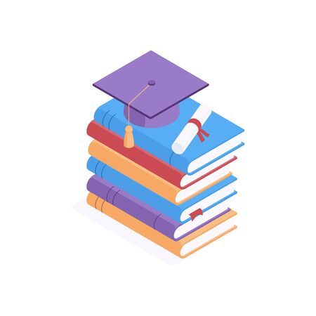 Education isometric concept - square academic cap and diploma lying on pile of closed colorful hardcover paper books. Isolated vector illustration for learning and graduation design.