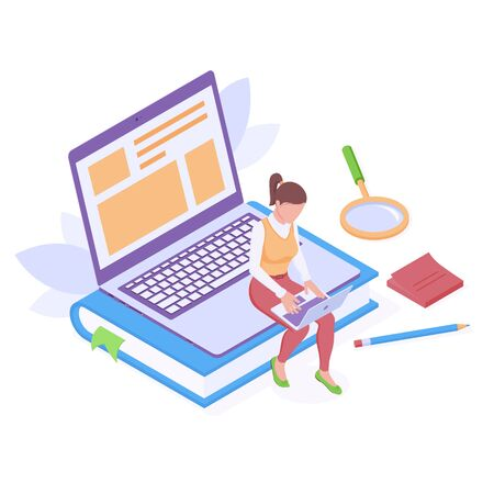 Online education or work with laptop isometric isolated vector illustration. Young woman sitting with digital notebook on huge book and portative computer with text and pictures on screen.