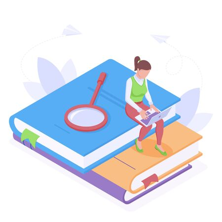 Online education or work with laptop isometric isolated vector illustration with young woman sitting with laptop on stack of huge books with magnifier. Studying and searching of information concept.