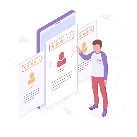 Employee hiring or searching of suitable candidate isometric vector illustration. Young man making choice with various personal profiles with information and rating isolated on white background. Ilustracja