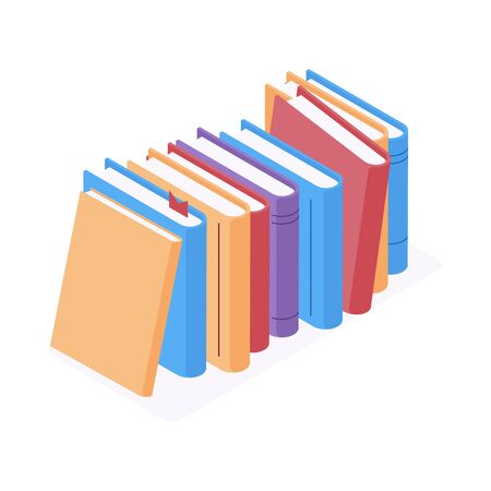 Stack of standing books in isometric vector illustration. Isolated colorful hardcover paper literature with bookmark for reading or education design in flat 3d style.