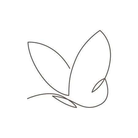 Modern continuous line drawing of simplicity butterfly silhouette