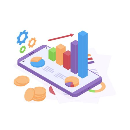 Isometric business analysis concept with graphics on mobile phone and paper documents, stack of coin money and gears isolated on white background. Isometric chart and graph for business analytics.