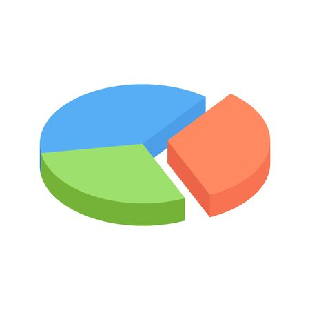 Isometric pie chart with three parts. 3d round graph or financial diagram for business infographic or presentation design. Isometric pie graphic for business or finance data visualization and report. Ilustração