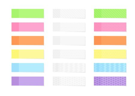 Sticky colorful and textured note paper or marker set in flat style isolated on white. Ilustración de vector