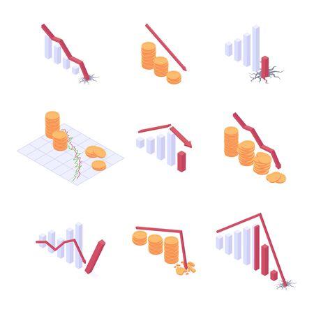 Economic crisis isometric vector illustration set Иллюстрация