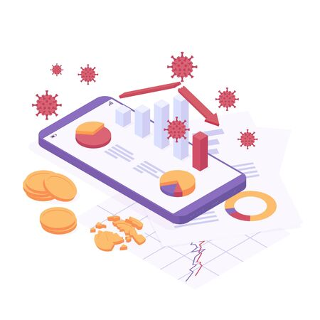 Coronavirus economic crisis isometric vector illustration Иллюстрация