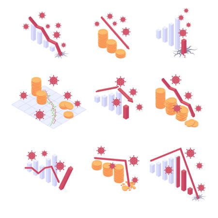 Coronavirus economic crisis isometric vector illustration set - various financial charts and money stacks with falling trend. 2020 fall of economy and finance or bank indicators with red decline arrow