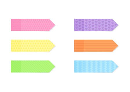 Sticky colorful and textured note paper or marker set in flat style - isolated various decorative notepaper stickers, reminders or bookmarks with adhesive tape attached to white background.