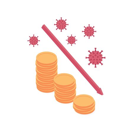 Coronavirus economic and financial crisis isometric vector illustration - decrease of golden coin stacks with red decline arrow. Concept of crisis of economy, finance and banking because of covid.