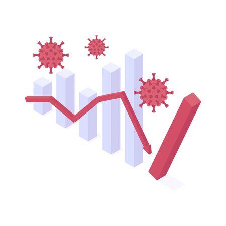 Coronavirus economic crisis isometric vector illustration.