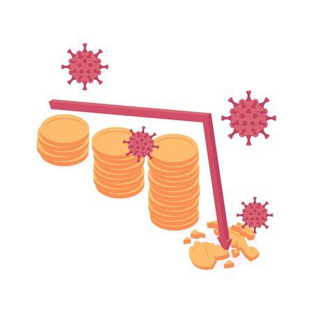 Coronavirus economic and financial crisis isometric vector illustration.