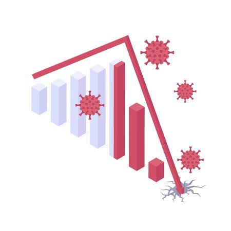 Coronavirus economic and financial crisis isometric vector illustration Иллюстрация