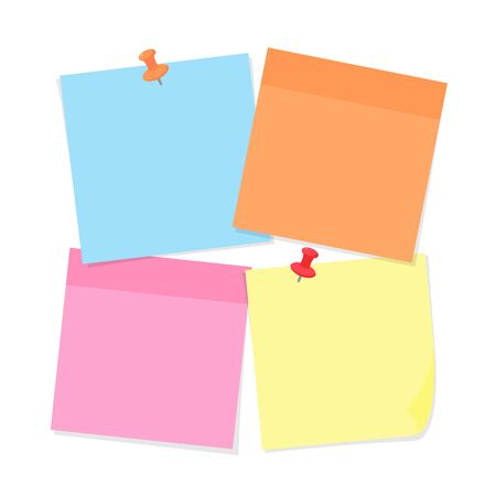 Sticky note paper and pins of various colors isolated on white background - vector illustration of colorful notepaper with adhesive tape. Office sticker with pushpins for important notes or reminders.