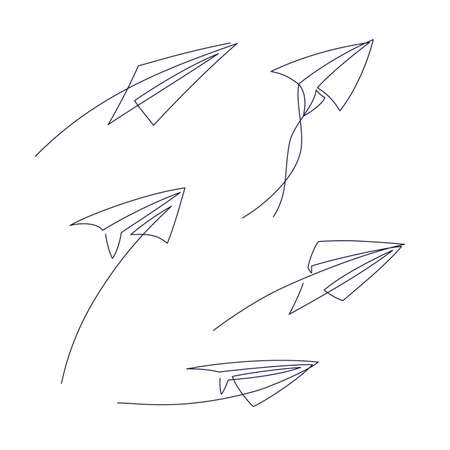Paper plane continuous line vector illustration - airplane silhouette made with one single line art style isolated on white background. Outline abstract aircraft with editable stroke.