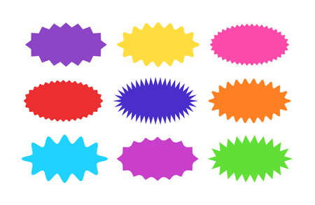 Starburst sticker set - collection of colorful special offer sale oval sunburst labels and buttons isolated on white background. Stickers and badges in form of star for promotion campaign. Ilustração Vetorial