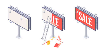 Billboard installation isometric vector with various stages of sticking advertising on big city ooh banner. Isometric billboard with ladder, bucket and roller for installation of outdoor ad.