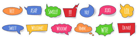 Comic colorful speech bubble set with conversation phrases and words in isolated vector illustration. Bubbles balloons and text boxes of various shapes with speech and think phrases and dotted shadow.
