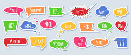 Paper speech bubble with phrases - colorful cartoon comic bubbles and clouds of various shapes with speech phrases, conversation text and words in isolated vector illustration.