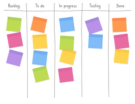 Kanban board with blank sticky note papers for writing task. Agile project management, tasks planning and to do list. Ilustração