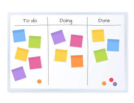 Kanban board with blank sticky note papers for writing task. Agile project management, tasks planning and to do list.