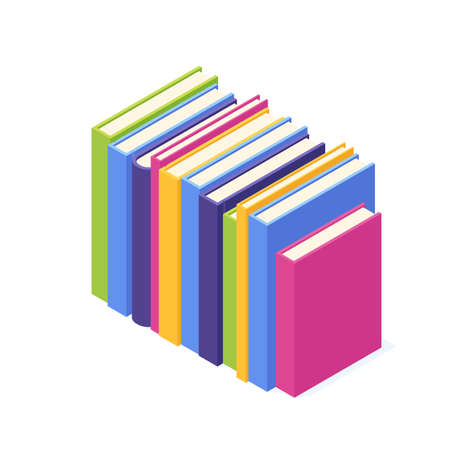 Stack of standing paper books with hard cover isometric.