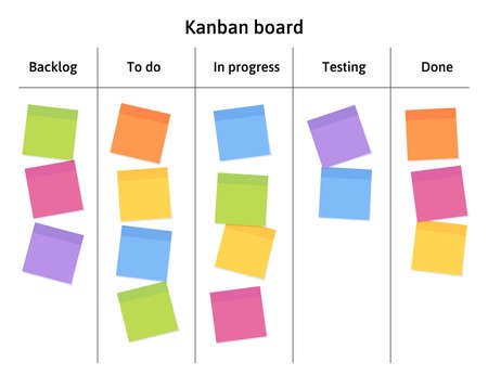 Kanban board with blank sticky note papers for writing task. Agile project management, tasks planning and to do list. 일러스트