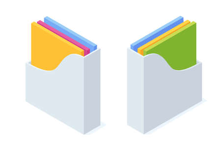 Isometric office paper tray with colorful folders and file document.