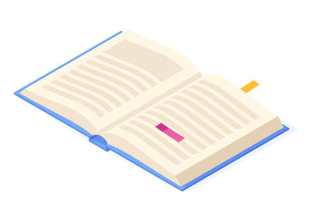 Open book isometric. Paper pages with text, picture and bookmark for education and reading concept.