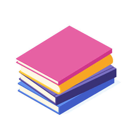 Stack of lying paper book with hard cover isometric. 일러스트
