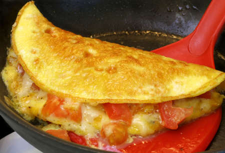 lifted: Golden Tomato and Cheese Omlet Lifted from Pan