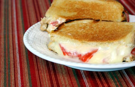 Golden Grilled Cheese and Tomato Sandwich Stock Photo - 2656278