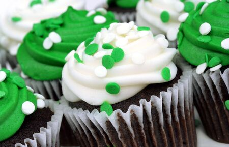 Green and White Mini Cupcakes for St. Patricks Day