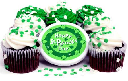 Festive Cupcakes with St. Patricks Day Wish Stock Photo