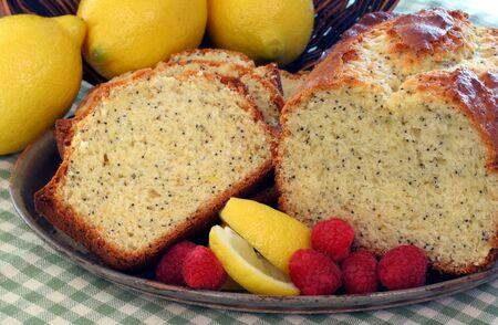 Lemon Poppyseed Cake with slices and fruit